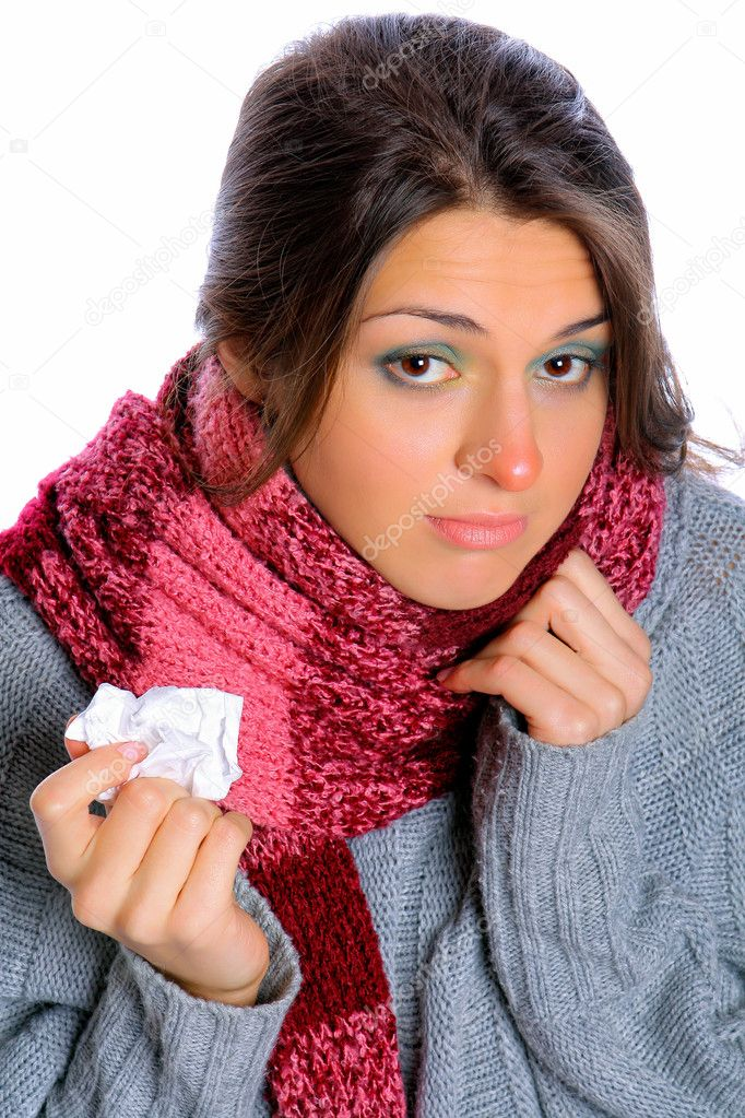 Young woman affected by cold