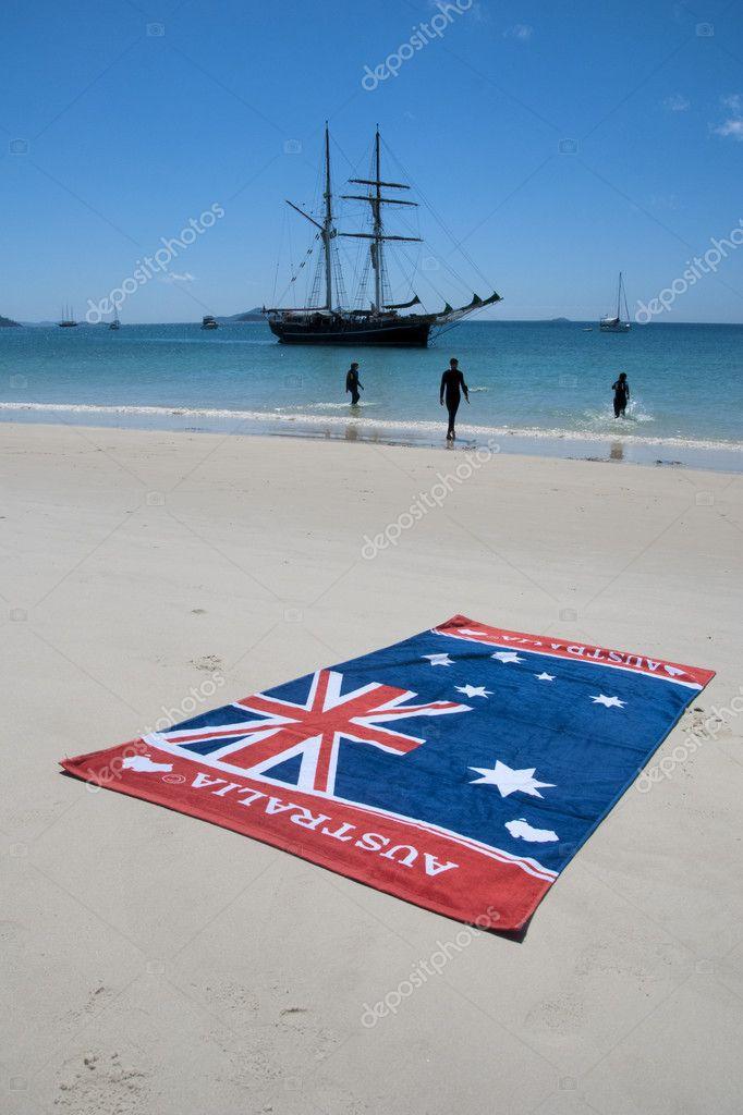 Australia Flag in Whitehaven Beach, Quee