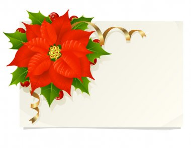 Christmas card with poinsettia, holly and golden ribbons clip art vector