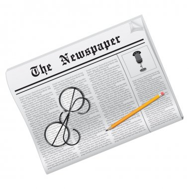 News. Newspaper, glasses and pencil isolated on white. clip art vector