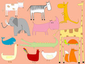 Cartoon drawing with animals