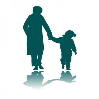 Woman and child silhouettes