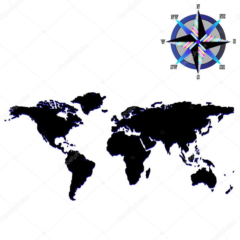 Black world map with wind rose — Stock Vector © robertosch #1478380