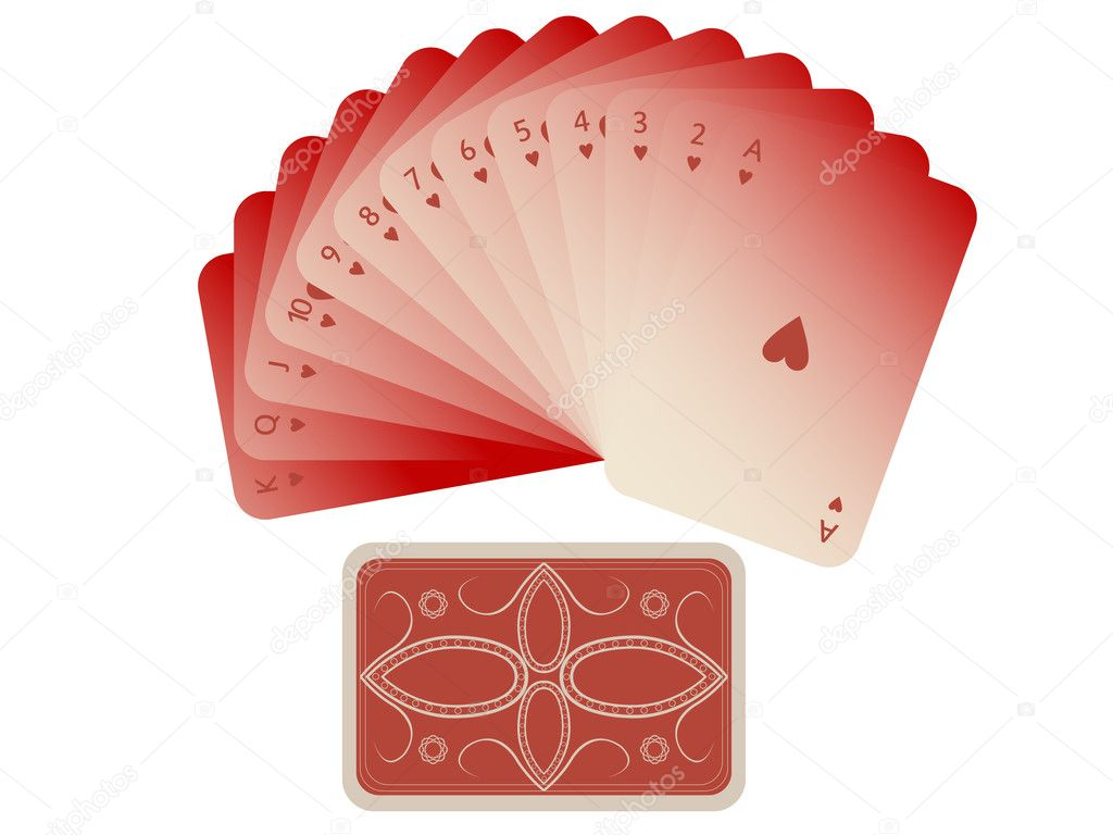 Hearts cards fan with deck on white