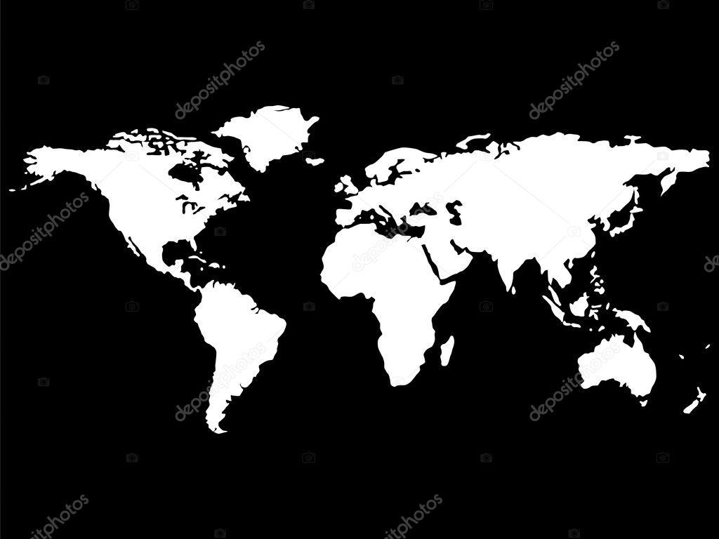 White world map isolated on black