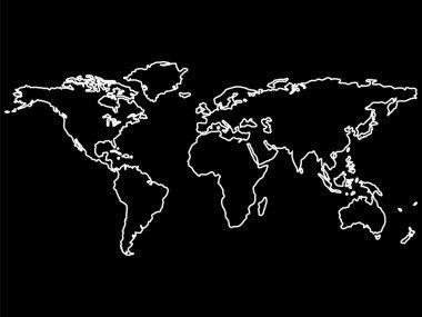White world map outlines on black