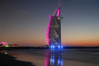 Burj Al Arab landmark after sunset