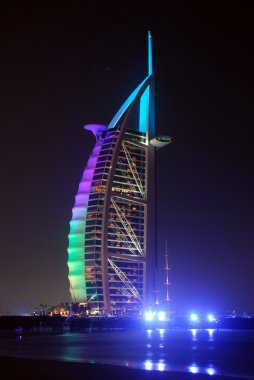 Burj Al Arab landmark at\fter sunset