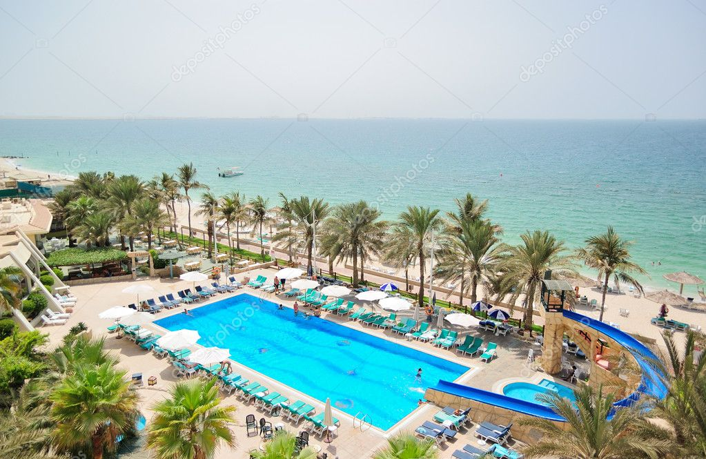 Swimming pool and beach area, UAE