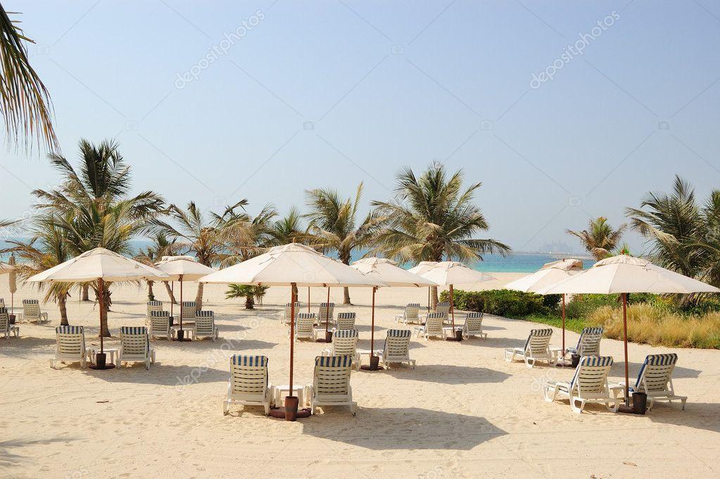 Beach at luxurious hotel, Dubai, UAE