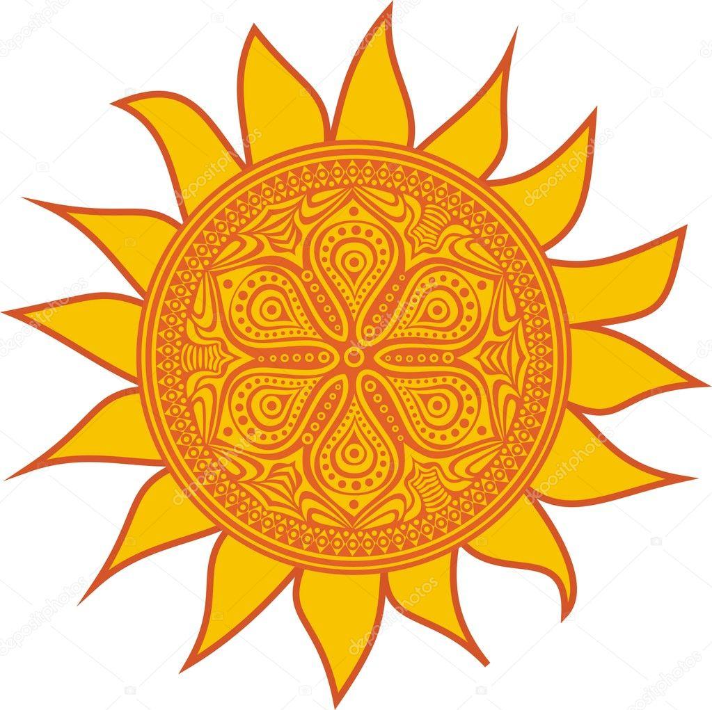 Sole stilizzato disegno di simbolo vettoriali stock for Immagini sole da colorare