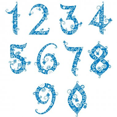Set of stylized numbers