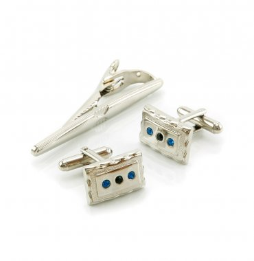 Cuff links and a tie-pin isolated