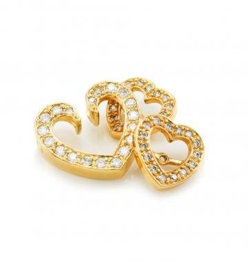 Heart-shaped jewelry (brooch and earring
