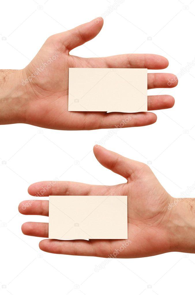 Deux Cartes De Visite En Mains Sur Fond Blanc Image Fabervisum