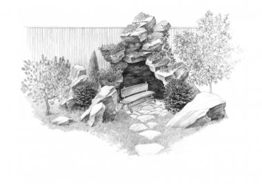 Grotto with a bench