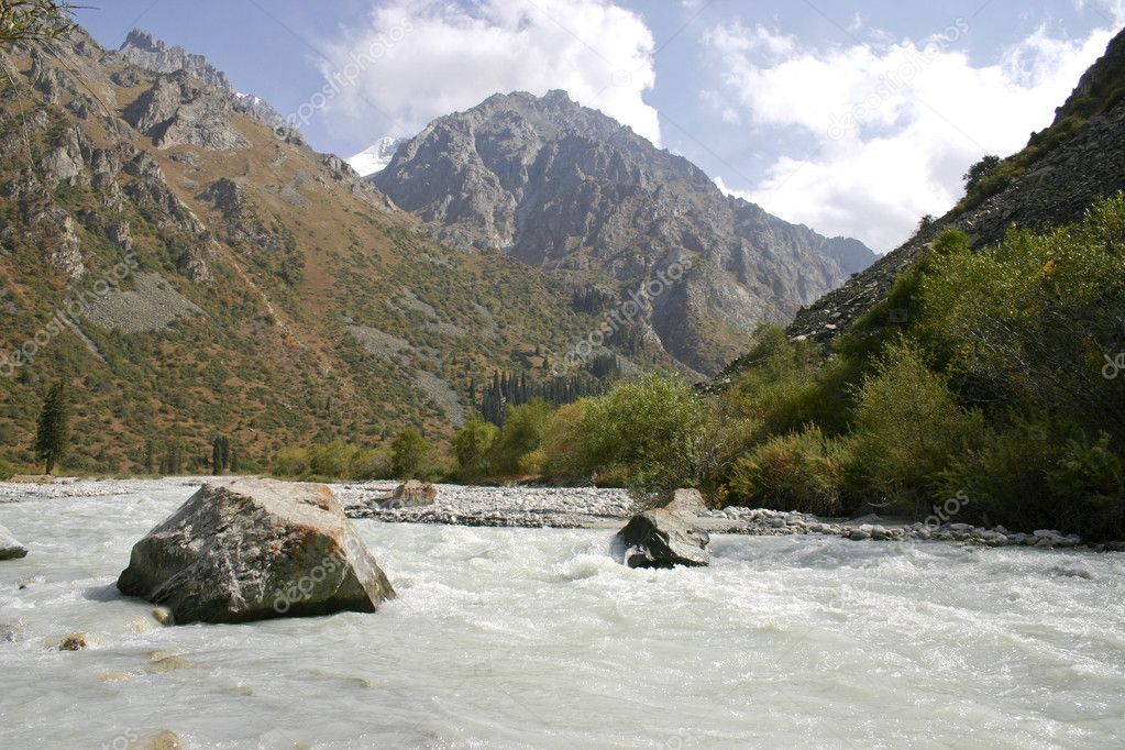 The mountain river.