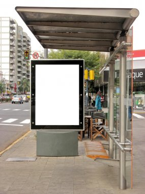 Board on bus stop