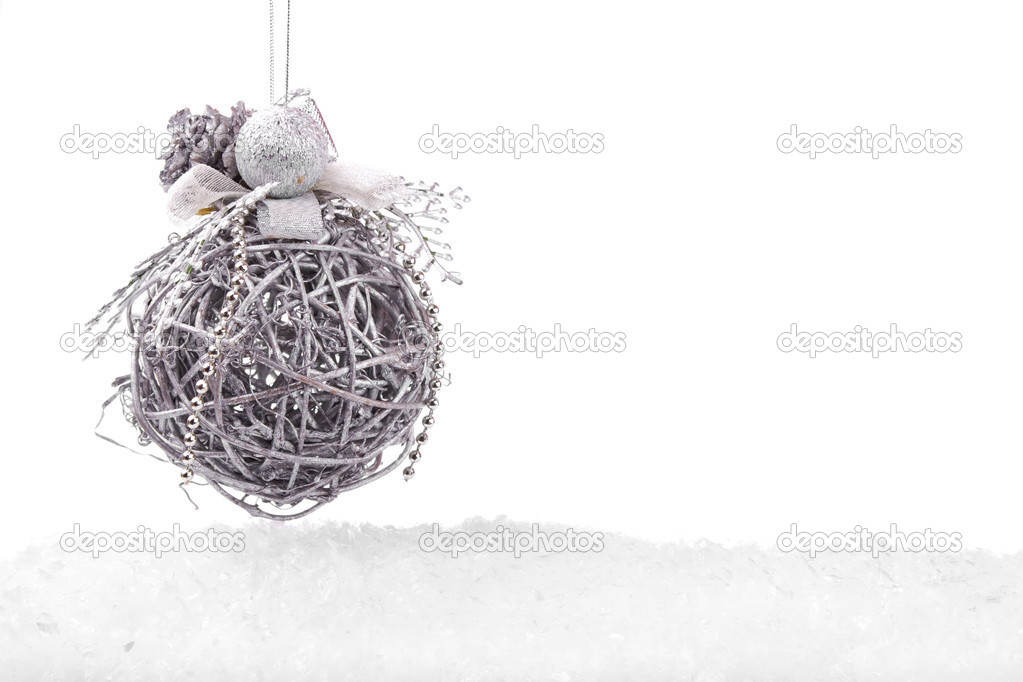 Grey Christmas ball with snow