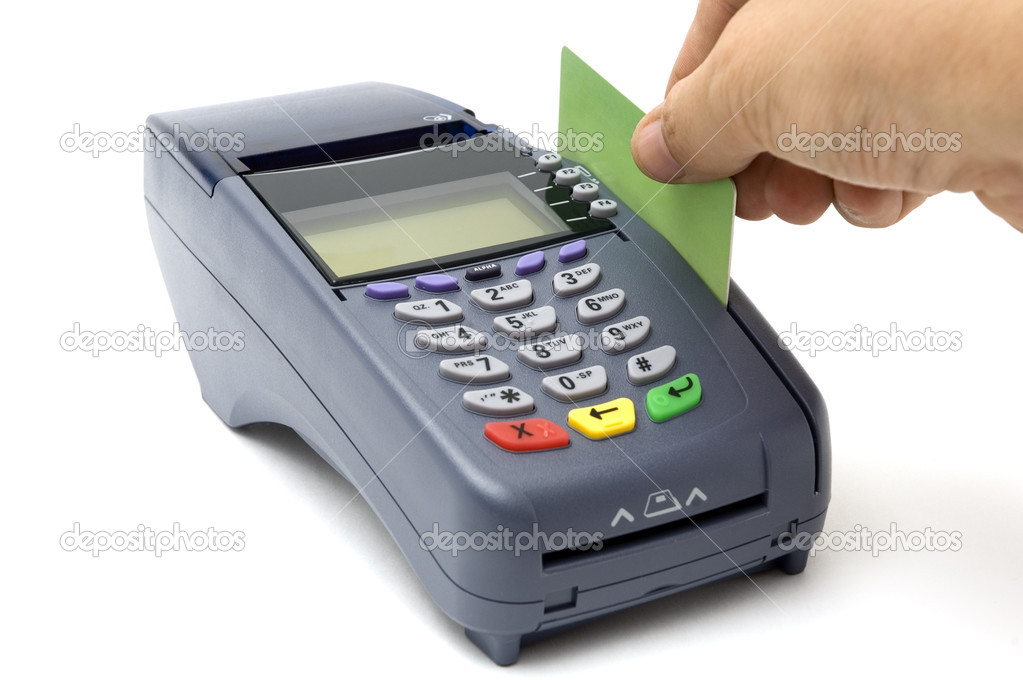 Swiping credit card with POS-terminal – Stock Editorial Photo ...