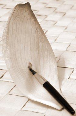 Lotus Petal Paint brush abstract sepia