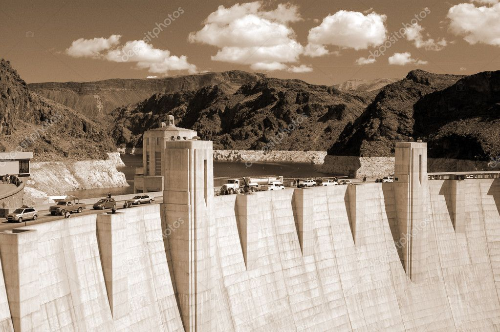 Hoover Dam on Lake Mead,Las Vegas sepia