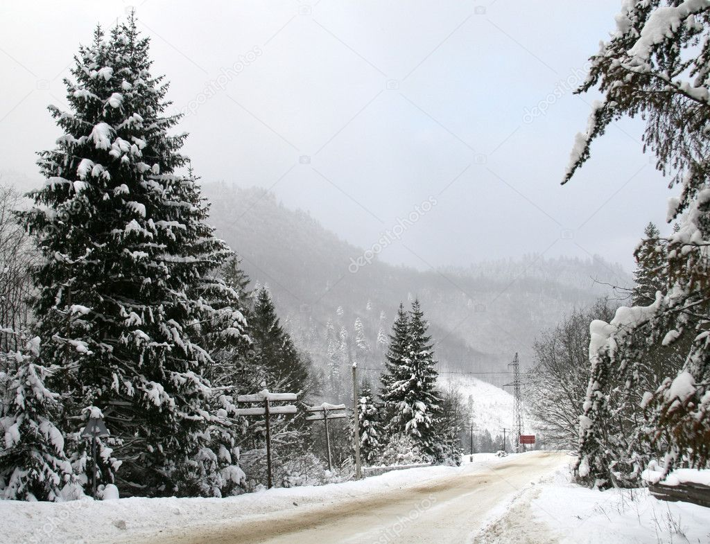 Snowy winter road in the mountains