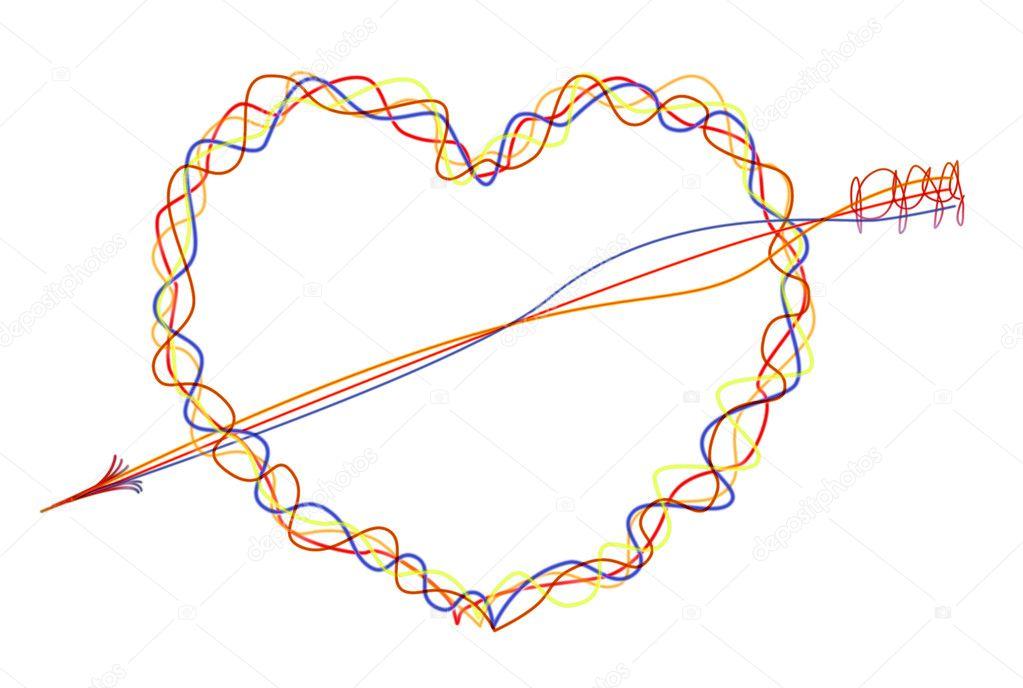 abstrakte Abbildung von Herz und Pfeil — Stockfoto © lucysd #1563824