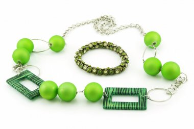 Green Bracelet and Necklace Isolated on