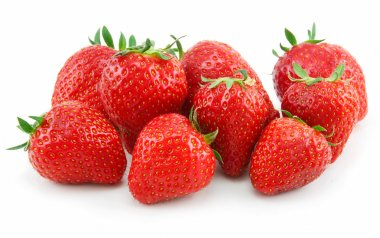 Ripe Strawberries in Basket Isolated on