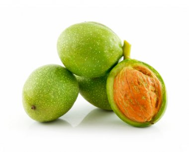 Ripe Broken Walnuts with Green Leaves Is