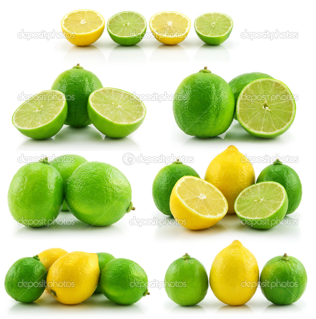Collection of Ripe Lime and Lemon Isolat