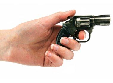 Small revolver gun in female hand