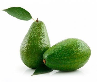 Ripe Avocado With Green Leaf Isolated on