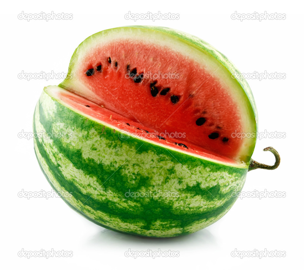 Ripe Sliced Green Watermelon Isolated on