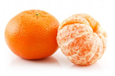 Ripe Sliced Tangerine Fruit Isolated
