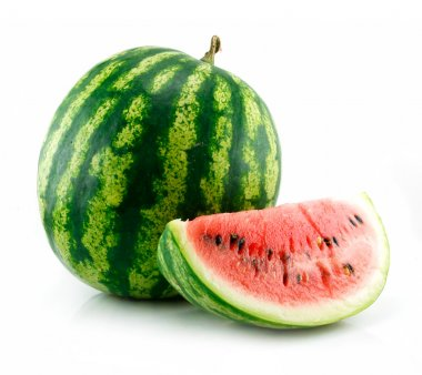 Ripe Sliced Green Watermelon Isolated on White