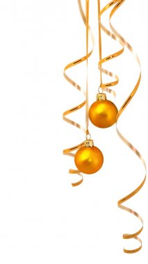 Gold balls with tinsel