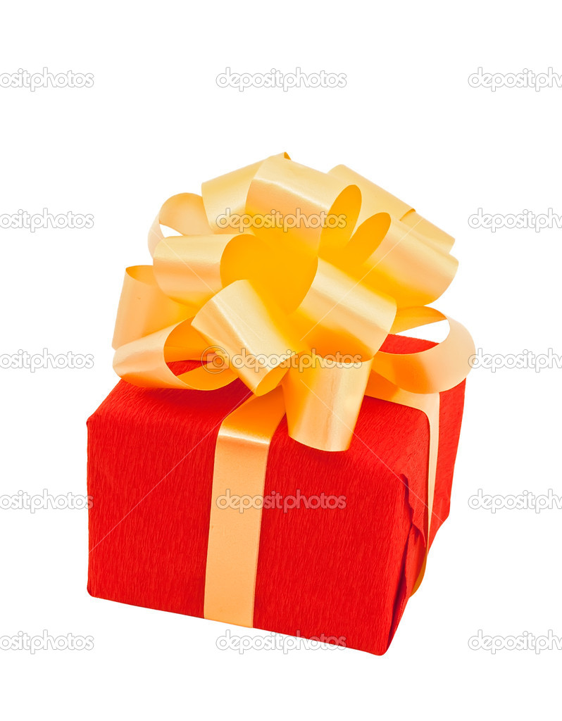 Red gift box packed with beige bow