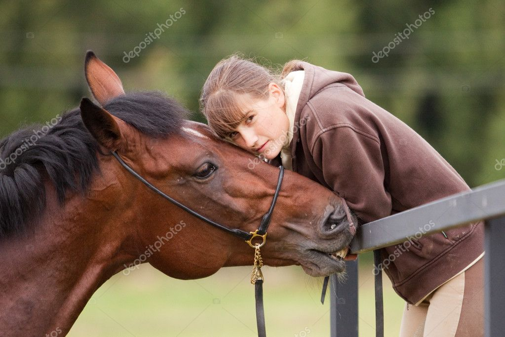 Inseparable - young girl and bay horse