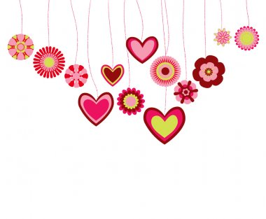 Background with hearts and flowers clip art vector