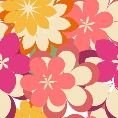 Abstract seamless pattern with flowers