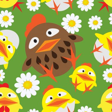 Seamless pattern with chickens