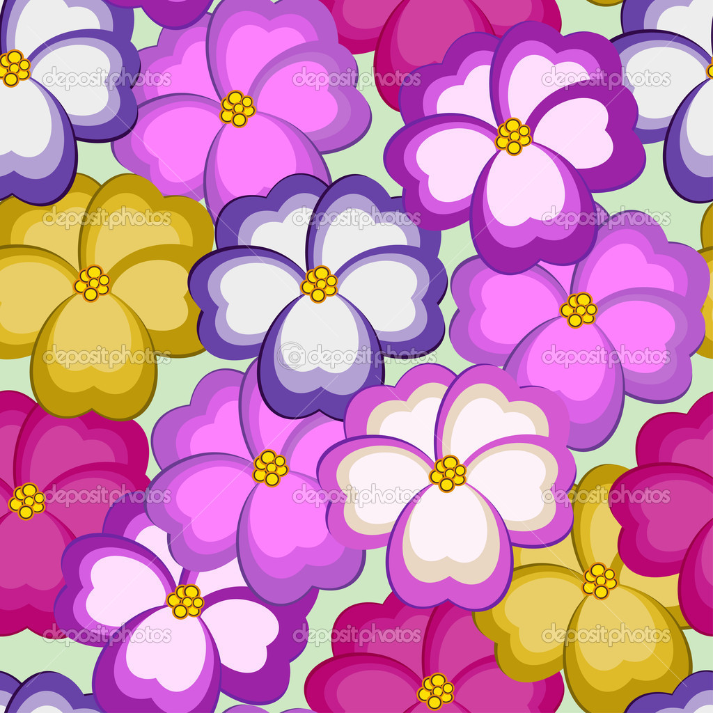 Seamless pattern with kiss-me flowers