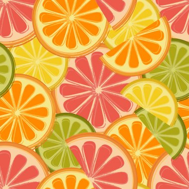 Seamless pattern with lemons and oranges