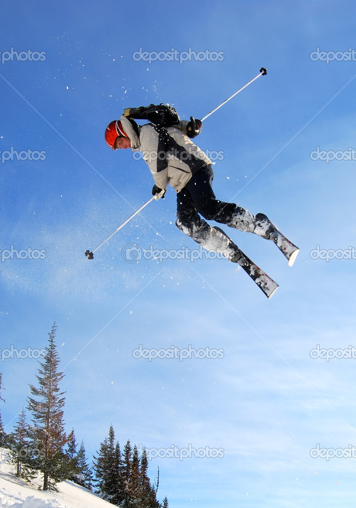 Skier jumping high