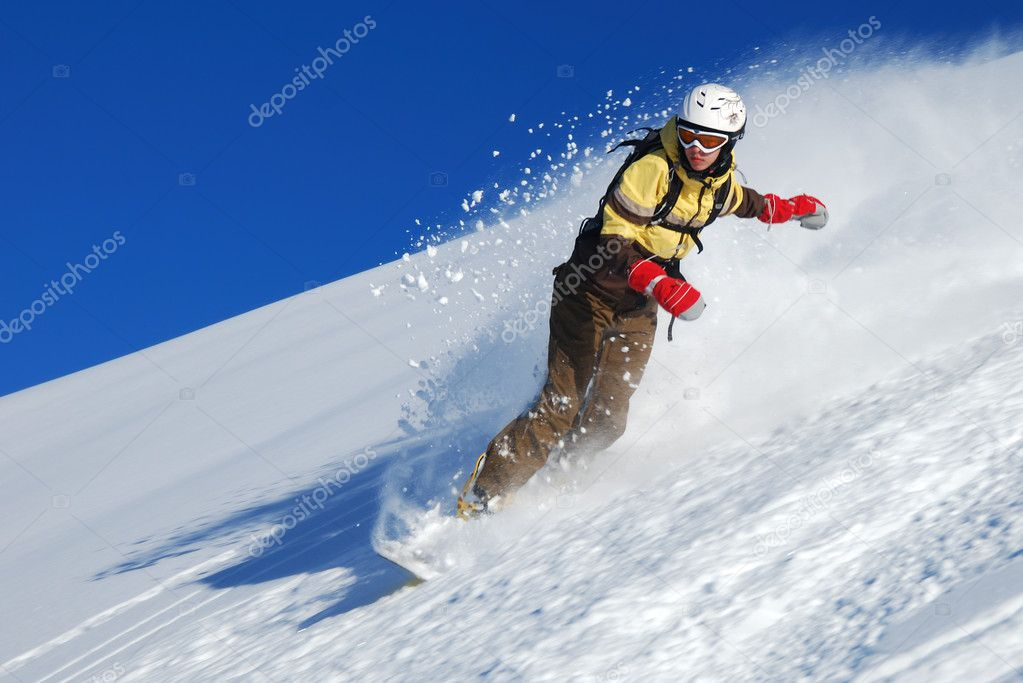 Young lady snowboarder