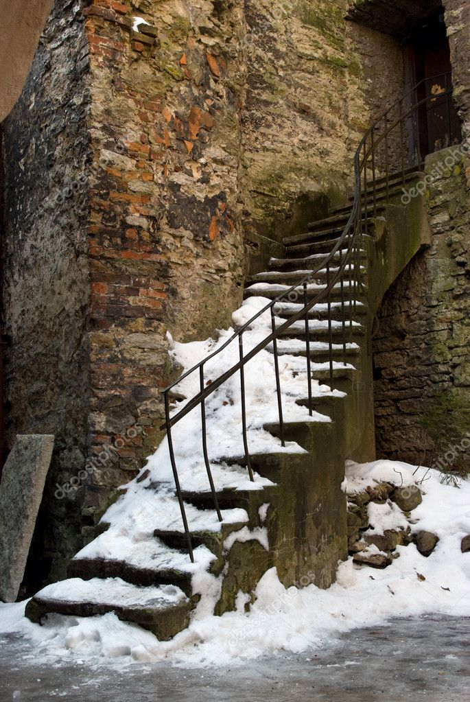 Snow covered staircase