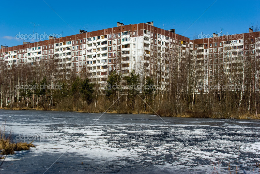 Apartment house on river bank
