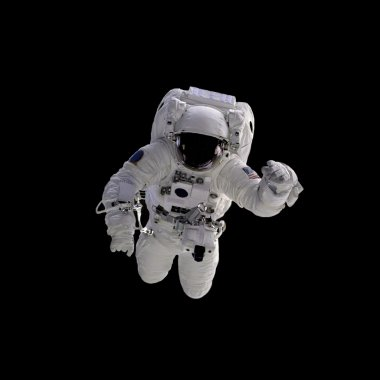 Flying astronaut on a black background.
